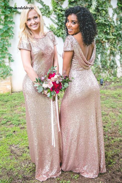 fb1ce0760734 Rose Gold Mermaid Bridesmaid Dresses 2019 Sequin Scoop Floor Length  Backless Wedding Guest Party Gowns Country vestido de festa