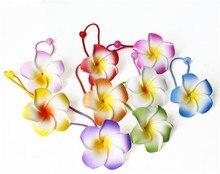 12 X Wholesale  flower hair jewelry ribbons foam hawaiian plumeria elastic Hawaiian frangipani band rope