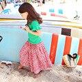 Primavera verano traje de fiesta niñas de algodón ropa de las muchachas fija 2 unids los niños ropa de verano 2017 Unidades pantalones flojos tops chica set beach