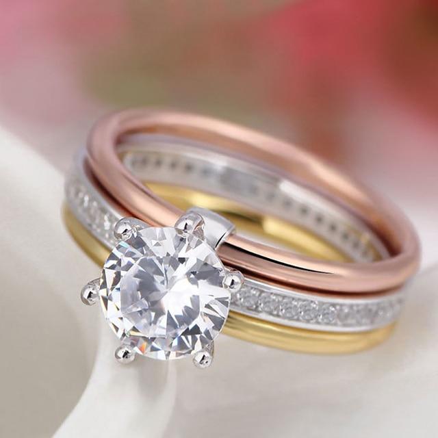 kovtia high quality aaa cubic zirconia wedding rings for women fashion cz jewelry three in one - High Quality Cubic Zirconia Wedding Rings
