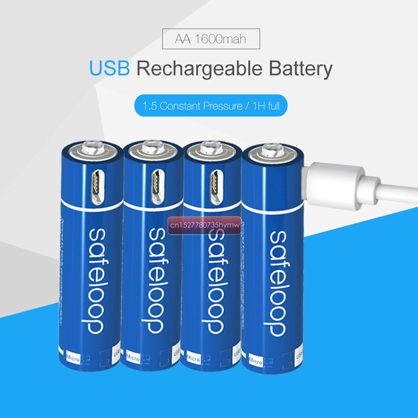 AA 1.5V 1600mAh Battery 2/4/8/12/16/20pcs USB Quick Charging Rechargeable Lithium Polymer Battery Charged by Micro USB Cable image