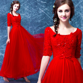 2016 new arrival stock maternity plus size bridal gown  evening dress graduation long sexy graduated Red Lace 6712