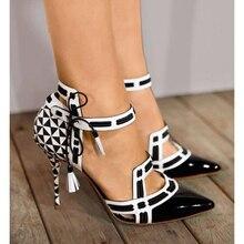 Новые женские туфли-лодочки на шпильке пикантные женские модные черные свадебные туфли с острым носком на высоком каблуке туфли на высоком каблуке с ремешком на щиколотке