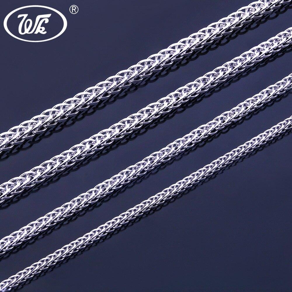 WK 925 Silver Chain Necklace 16 18 20 22 24 26 Inch 0.8MM 1MM 1.3MM ... f20c2e4fc0