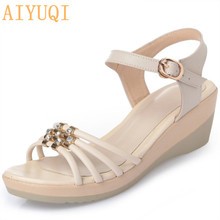 Plus size 35-43 # microfiber leather women sandals 2017 slope with fashion diamond buckle mother summer shoes female стоимость