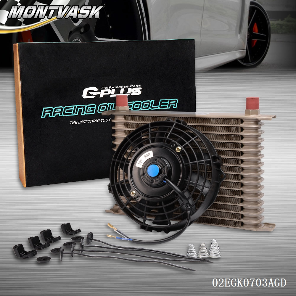 Universal 15 Row 10AN Engine Transmission Oil Cooler + 7