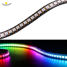DC5V 1 M/2 m/3 M/4 M/5 M WS2812B 30/60/ 144 LEDs/M Smart LED แถบสีดำ/สีขาว PCB WS2812 IC กันน้ำแอดเดรสแอดเดรสแถบ
