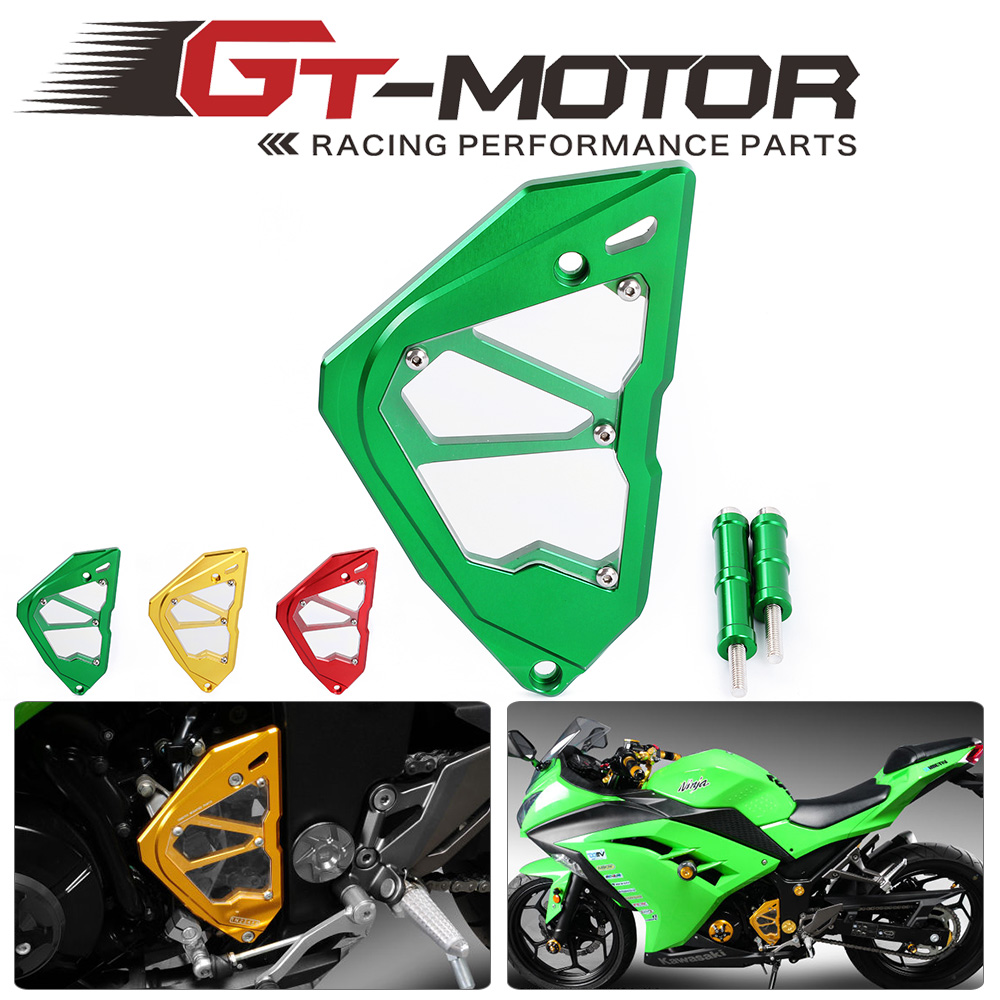 GT Motor - CNC Motorcycle Accessories Left Engine Front Sprocket Chain Guard Protection Gover For Kawasaki Ninja300 starpad for kawasaki motorcycle accessories when the engine zzr400 small chain timing chain gauge chain free shipping