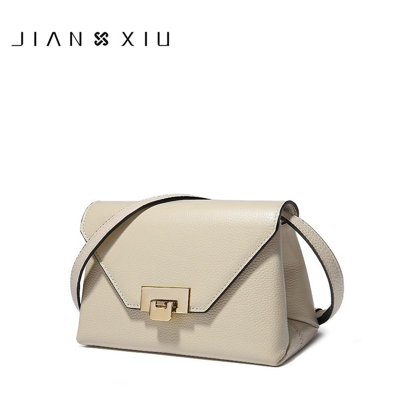 JIANXIU Brand Women Messenger Bags Litchi Grain Cowhide Shoulder Crossbody Genuine Leather Bag 2018 Fasion Female Small Tote Bag