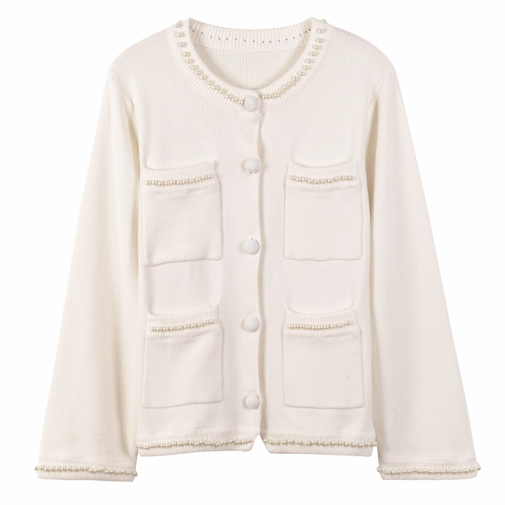 beading pearl cardigan sweater white black warm sweaters knitted ...