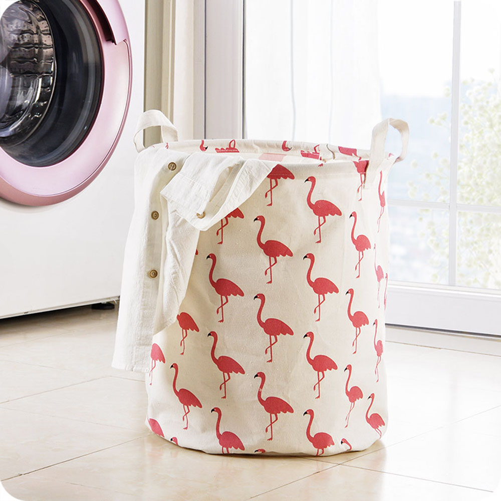 1pc Washing Bag Printed Storage Basket Linen Cotton Laundry Basket For Dirty Clothes Kids Toys Household Organizer Practical