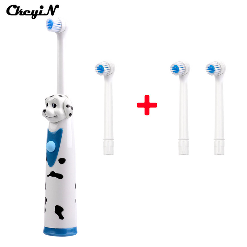 CkeyiN 4 Head Rotary Children Electric Toothbrush Kids Toothbrush Sets Waterproof Sonic Electric Massage Teeth Brush Dental Care ultra soft children kids cartoon toothbrush dental health massage 1 replaceable head outdoor travel silicone retractable folding
