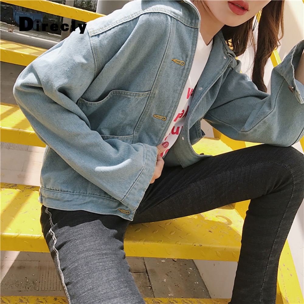 Direcly Jeans   Jacket   Women Casacos Feminino Denim   Jacket   Femme Elegant Vintage Bomber   Jacket   2018   Basic     Jacket   For Women