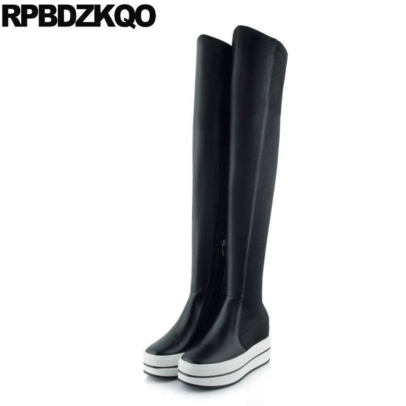 Waterproof Black High Heel Over The Knee Platform Women Stretch Wedge Long Side Zip Boots Real Leather Slim Hidden Muffin Thigh muffin wedge high heel stretch women extreme fetish casual knee peep toe platform summer black slip on creepers boots shoes