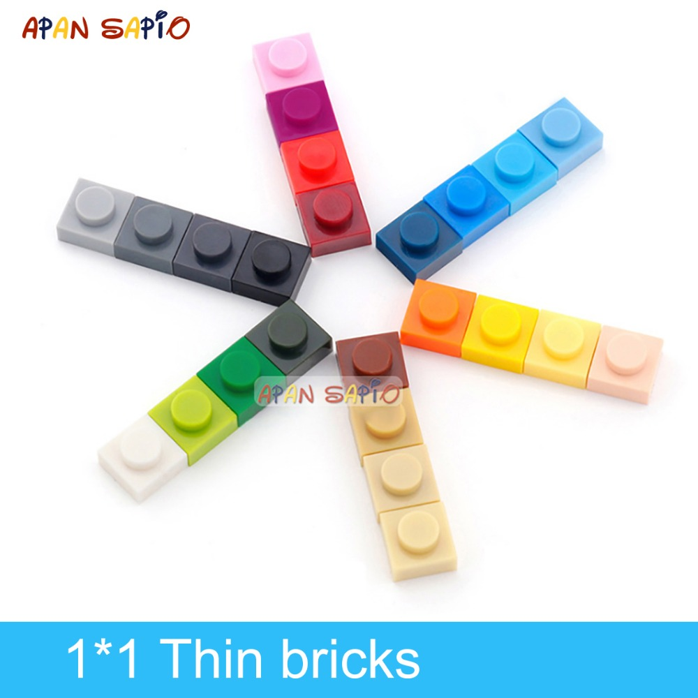 DIY Building Blocks Thin Figures Bricks 1x1 Dots 340PCS Lot 25Color Educational Creative Compatible With Legoe Toys For Children