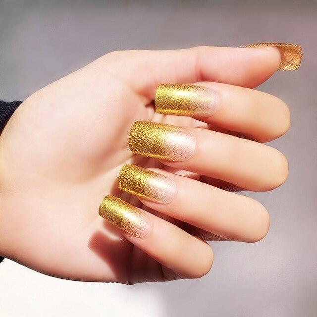 Aliexpress Buy Glitter French Fake Nails Clear False Nail Tips
