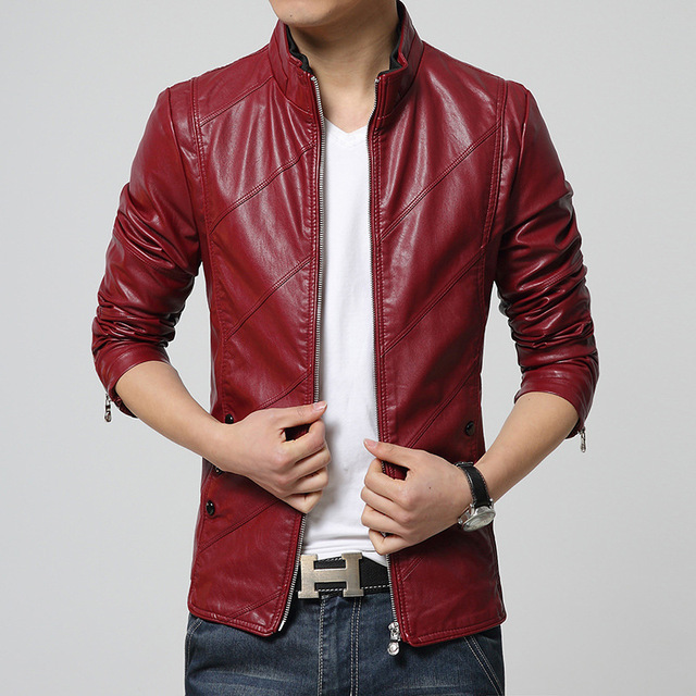 New Fashion Male Leather Jacket Men Brown Black Red Mens Faux Fur Coats Trend Slim Fit Younth Motorcycle Suede Jacket 13M0624