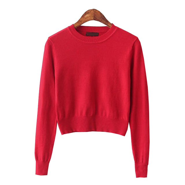 Cropped Sweater Women 2016 Knitted Christmas Sweaters Pull Femme Pink Korean  Kawaii Cute Short Jumper Pullovers Sexy Ropa Mujer 14ced018e12d