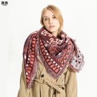 YI LIAN Brand Geometeric Charming Retro Scarf Women Traditional Crafts Square Oversized Warm Winter Scarf YL275