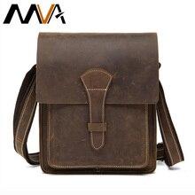 MVA Men Bag Men's Genuine Leather Bags Small Business Bags Man Crazy Horse Leather Portfolio Male Crossbody Shoulder Bag 1093