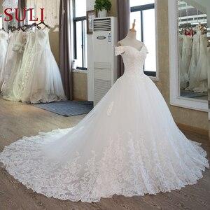 Image 3 - Белое Бальное платье невесты, винтажное свадебное платье мусульманского размера плюс с кружевом и рукавом для принцессы, 2020