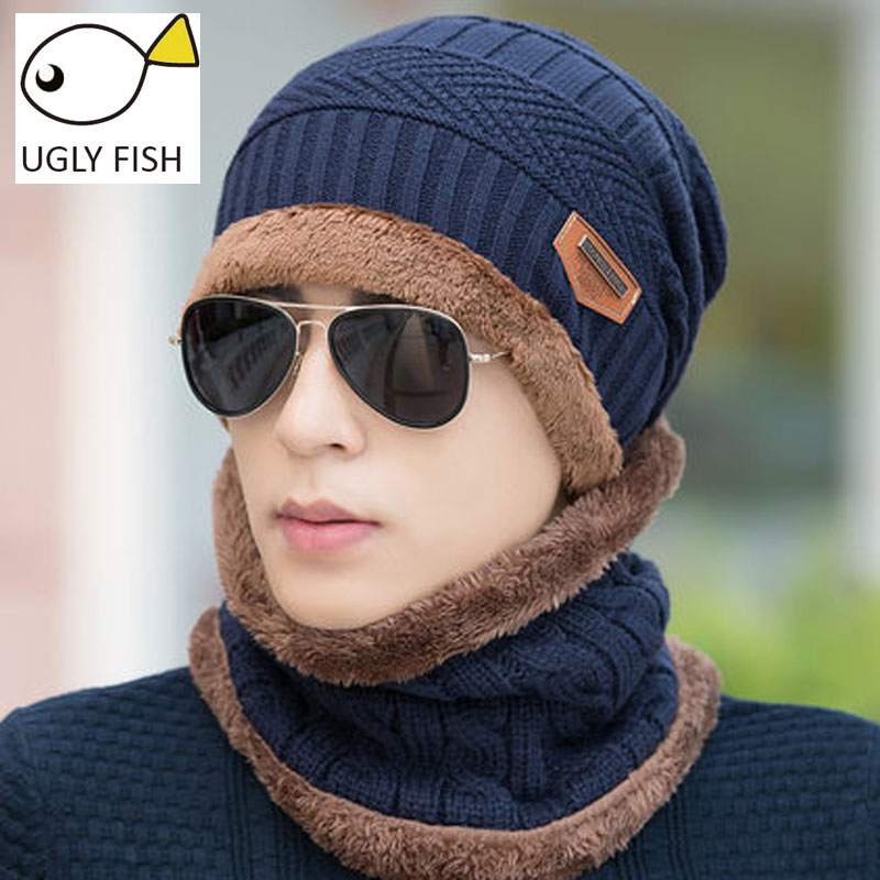 UGLY FISH Neck Warmer Winter Scarf Cap Winter Hats For Men Knit Hat Skullies Beanies