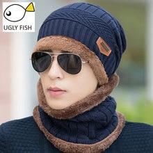 Neck warmer 2016 knit cap scarf two-piece Winter Hats For Men Caps Warm Moto Fur Beanie Fleece Knit Hat balaclava