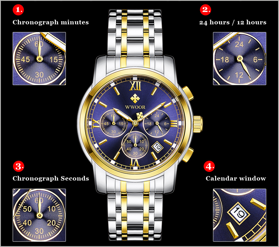 New Gold Quartz Wristwatch Men Watches Top Brand Luxury Stainless Steel Male Wrist Watch Golden Clock Relogio Masculino (16)