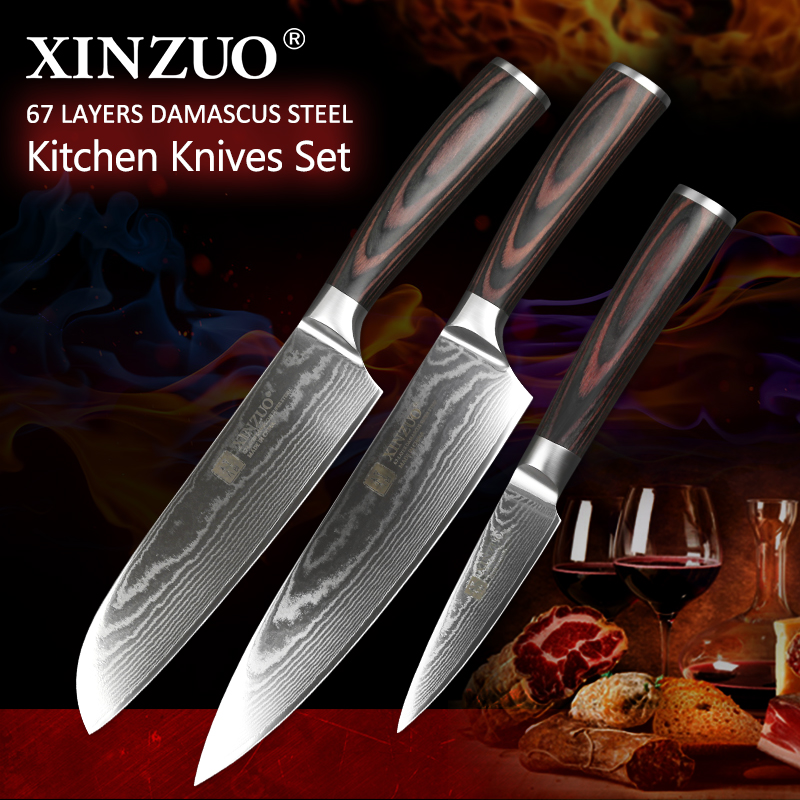 XINZUO 3 PCS Kitchen Cutlery Set Japanese Chef Santoku Fruit Knives Damascus Steel Kitchen Knife Pakka wood Handle New ArrivalXINZUO 3 PCS Kitchen Cutlery Set Japanese Chef Santoku Fruit Knives Damascus Steel Kitchen Knife Pakka wood Handle New Arrival