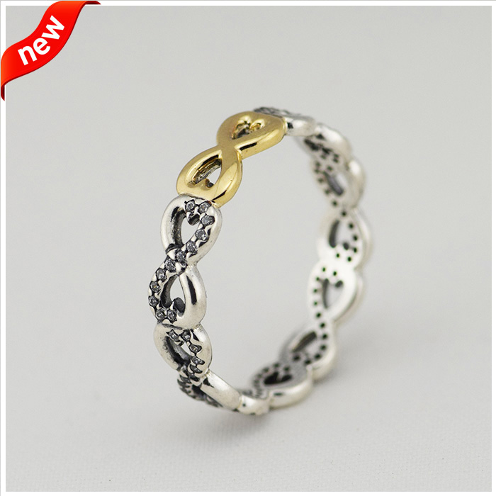 Infinity Rings With 14K Real Gold 100% 925 Sterling Silver Fine Jewelry Free Shipping