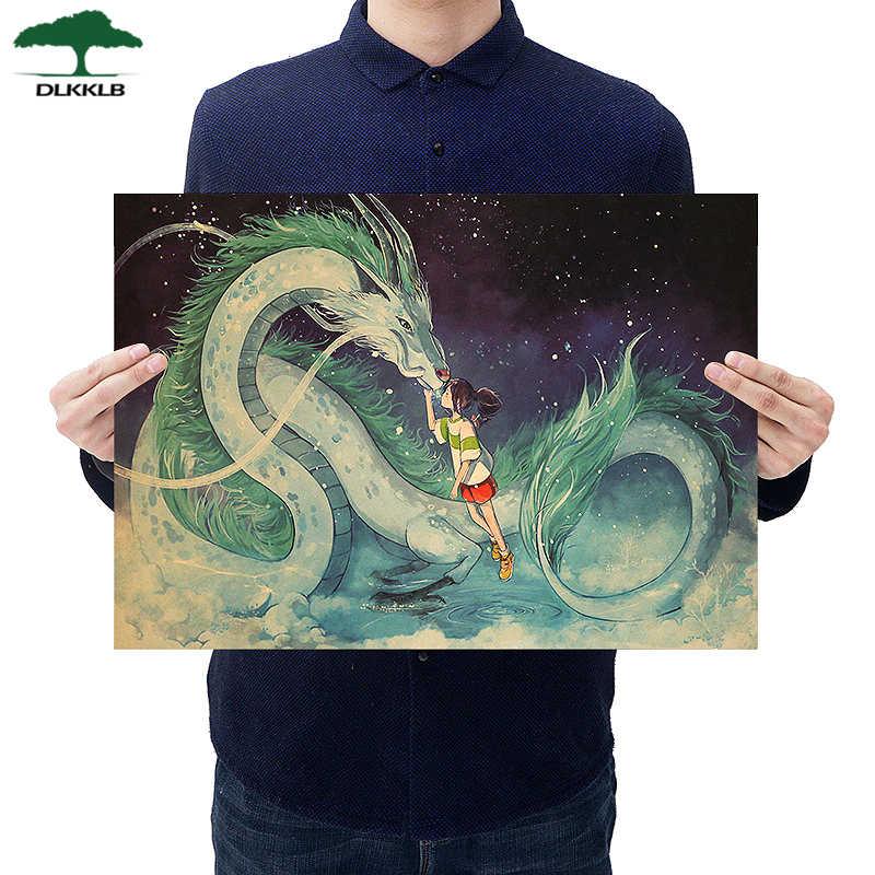 Dlkklb Hayao Miyazaki Anime plakat filmowy zestaw papier pakowy Cafe Bar Retro plakat dekoracyjny sztuki naklejki ścienne wystrój domu