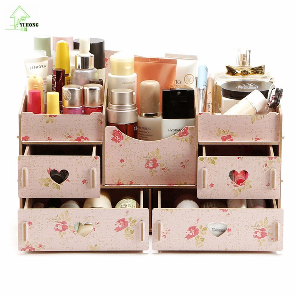 YIHONG Fashion DIY Wooden Storage Box Jewelry Container Makeup ...