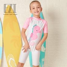 July Sand 2019 new Swimsuit Girls Hippocampus cartoon print Bathing Suit Summer Children Beachwear 18G044