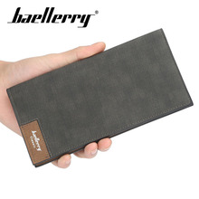 Baellerry Men Solid Casual Vintage Long Wallet Clip Hasp PU Leather Wallet Coin Pocket Card Holder Photo Holder Men Porta Wallet baellerry men solid black long wallet pu leather zipper n rope wallet coin pocket card holder photo holder business wallet men