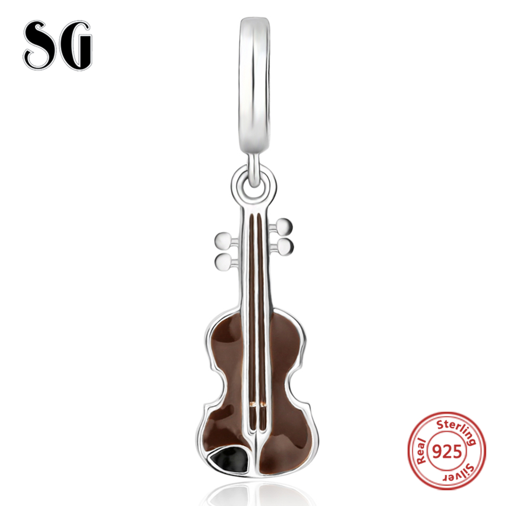 51499b3cc Silver Galaxy Music Instrument Violin Pendant Beads For Women Bracelet Fit  European Charms Silver 925 Original