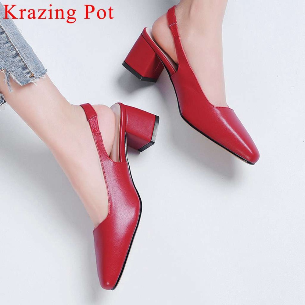 New arrival young girl natural leather slingback woman pumps square toe chunky med heels comfort slip