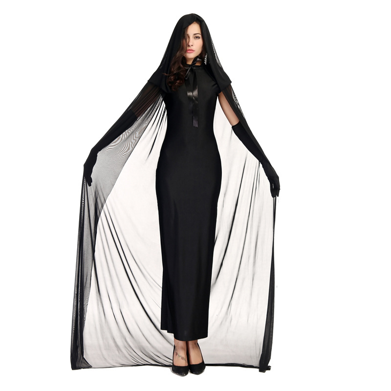 Halloween Cosplay Costumes Women Sexy Mesh Floor-Length Dresses Witch Vagrant Demon Devil Cos Black Dress Cloak Gloves 3 Pcs Set