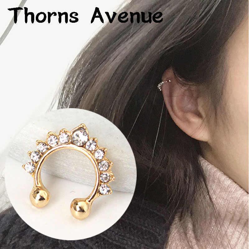 חדש אופנה רסיס זהב צבע האף טבעת חישוק מזויף פירסינג קריסטל עגילי קאף פאנק האף טבעת לגברים נשים תכשיטים