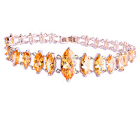 New Arrival Fashion Marquise Cut Morganite 925 Silver Charm Bracelet Women Luxury High Quality Jewelry Wholesale