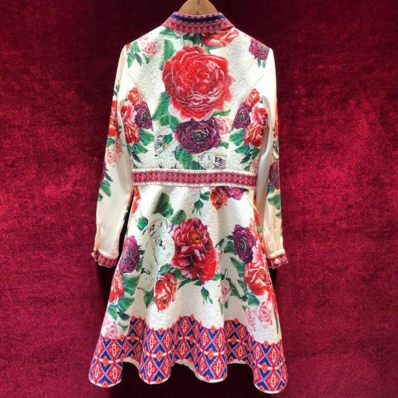 Haut de gamme nouveau 2019 printemps été femmes robe de piste élégant col rabattu Jacquard Patchwork manches longues robes d'impression-in Robes from Mode Femme et Accessoires    2