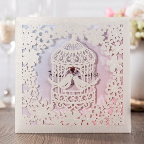cheap invitation cards with birdcage design wedding cards laser cut card free thank you - Free Invitation Cards