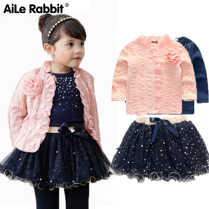 AiLe Rabbit Spring Winter Baby Girls Clothing Sets 3 Pieces Suit Girls Flower Coat + Blue T Shirt + Tutu Skirt Girls Clothes k1 anime sakura akizuli nakuru cosplay costume blue suit shirt coat skirt tie d