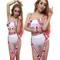 New Sexy Female Nightclub Bar Dance Costumes White Slim Bandage Stage Wear (Top+Shorts) Female Sexy Costume Hip Hop Club Set