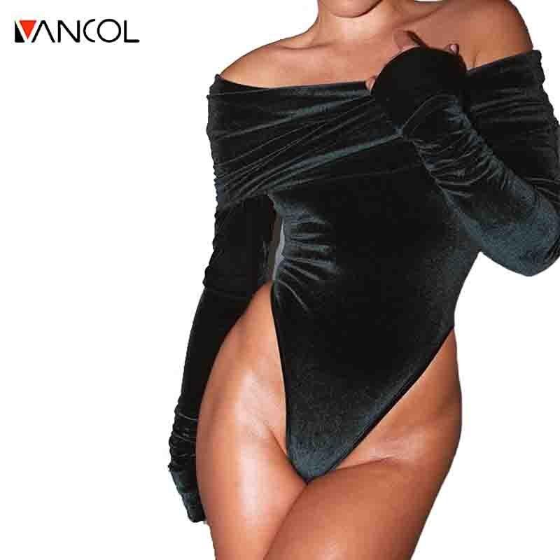Vancol 2016 Female Spandex Black Jumpsuit Velvet Off ...