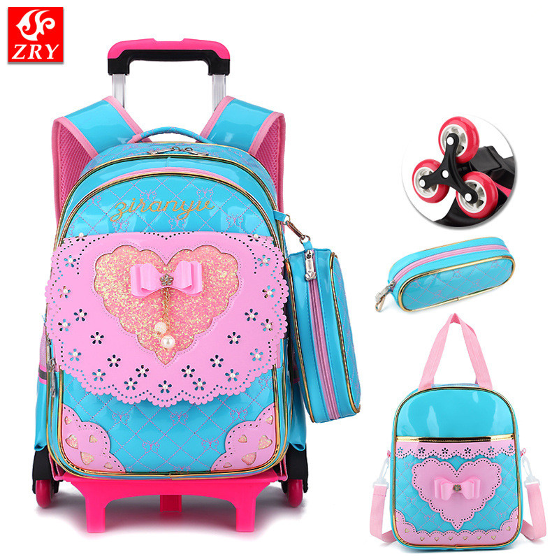 Children 2/6 wheel Trolley schoolbag waterproof PU kid Backpack bow design Orthopedic School Bags teenagers Girl travel luggage 24v 300w 2 10 35km luggage folding carbon fiber electric scooter adult kid school working vehicles travel 2 wheel lithium ion