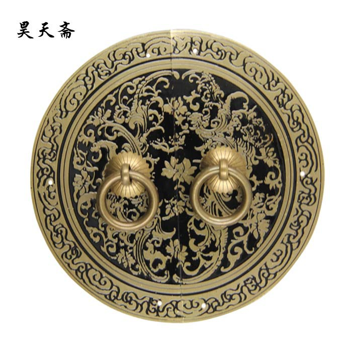 [Haotian vegetarian] bronze Ming and Qing furniture door handle Chinese copper copper accessories furniture accessories HTB-320 [haotian] bronze fast new chinese antique furniture ming and qing copper door handle lock sheet four seasons peace subsection