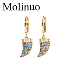 Molinuo exquisite colorful cubic zirconia Ivory shape drop earrings charm lovely girl woman dangle 2019 new arrival