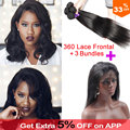 Pre Plucked 360 Lace Virgin Hair With Bundles Brazilian Straight Hair 360 Lace Frontal With Bundle 360 Lace Frontal Closure