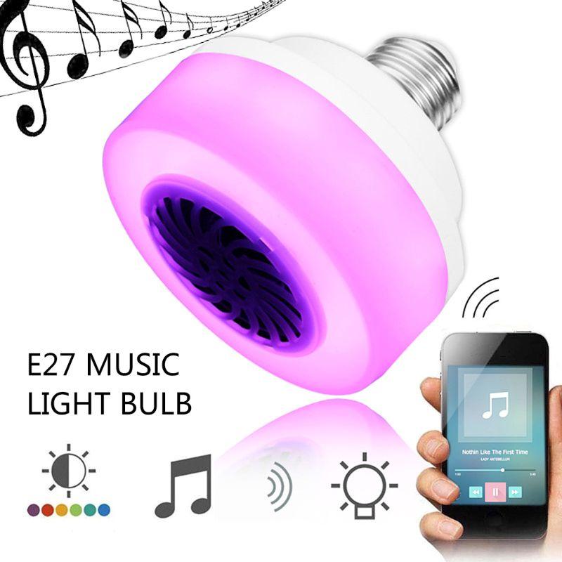 100-240V Bluetooth Music Light Bulb LED Lamp Smart Wireless Speaker Playing Diammable Flashlight Decor For Bar Club Special