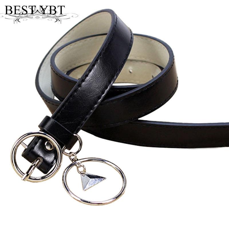 Best YBT Women's Belt Circle Buckle Rings Casual Belt Pin Buckle Imitation Leather Women's Cowboy Pants Slender Waist Belt